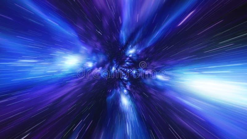 Sautez à l'arrière-plan bleu de galaxie de tunnel de vortex de temps photographie stock libre de droits