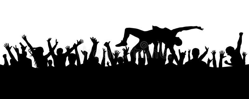 Sautez dans la foule Un homme saute dans ses bras dans une foule de silhouette de personnes illustration libre de droits