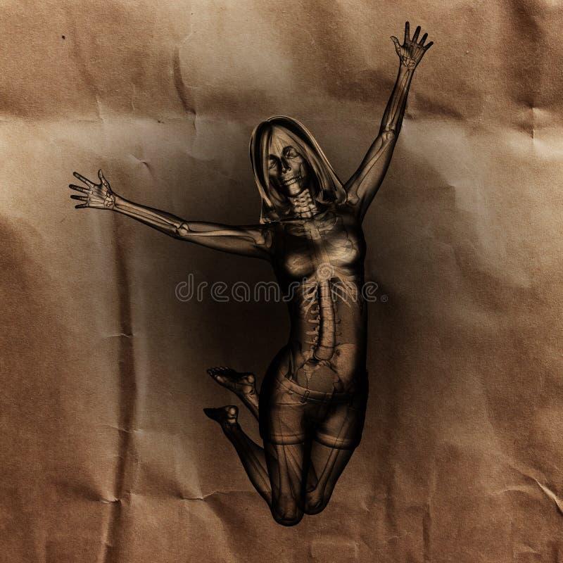 Sautez la radiographie de femme peinte photo stock