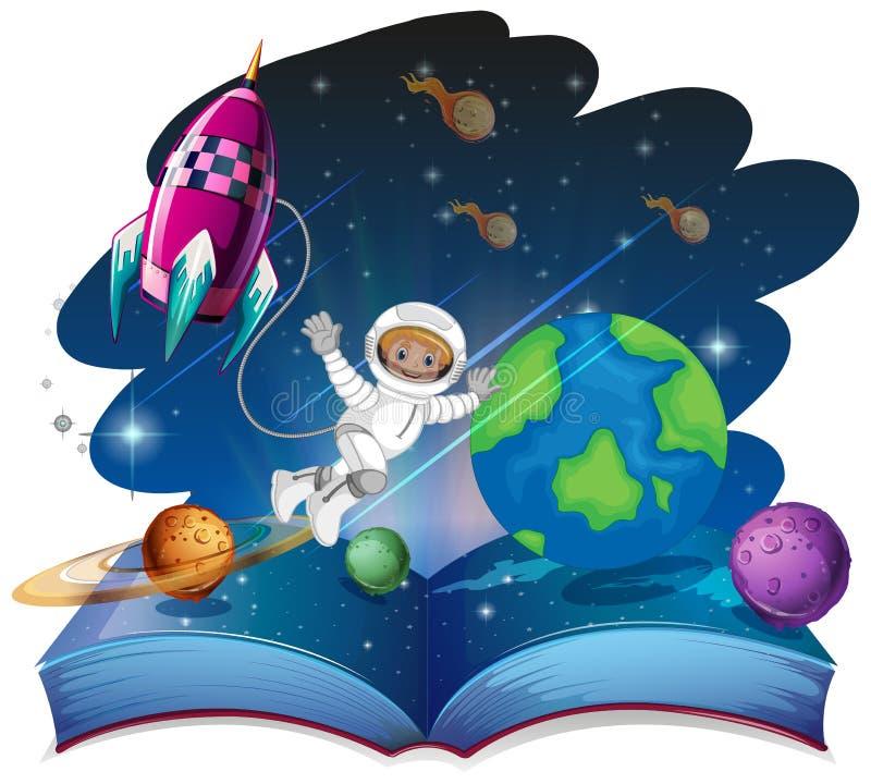 Sautez la scène de l'espace de livre illustration de vecteur