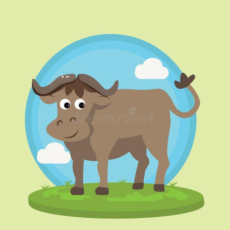Sauvage animal d'illustration de vecteur de bande dessinée d'amusement de caractère de sourire de bison de Buffalo dans l'herbe a illustration de vecteur