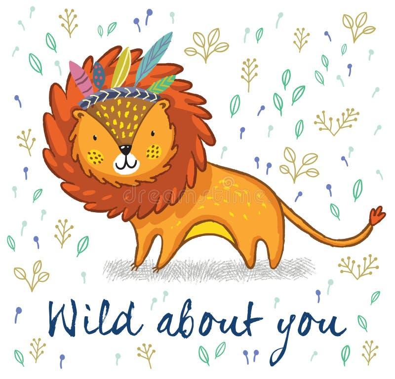 Sauvage au sujet de vous Illustration mignonne de vecteur de bande dessinée de lion illustration stock
