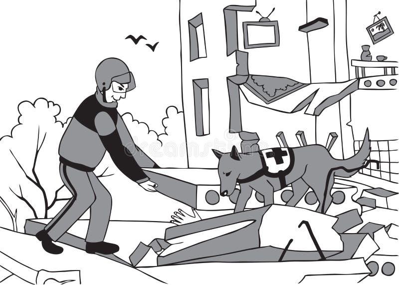 Sauveteur et chien de secours illustration de vecteur