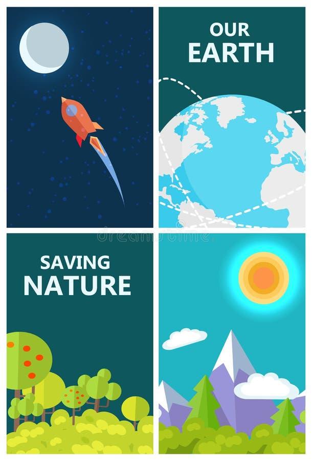 Sauvez l'affiche de la terre avec la vie sur la planète et l'espace illustration stock