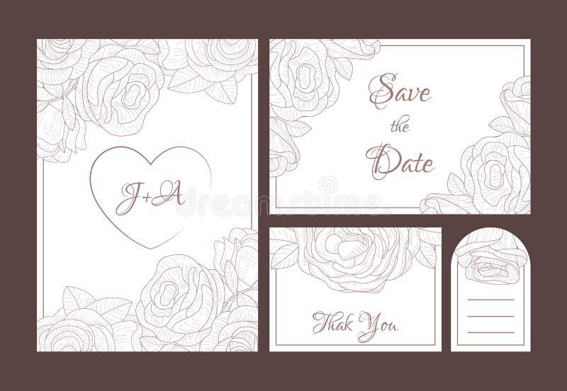 Sauvez l'ensemble élégant de calibres d'invitation de mariage de date, merci, cartes florales de Rsvp avec les fleurs tirées par  illustration libre de droits