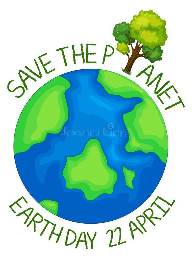 Sauvez l'icône de planète illustration de vecteur