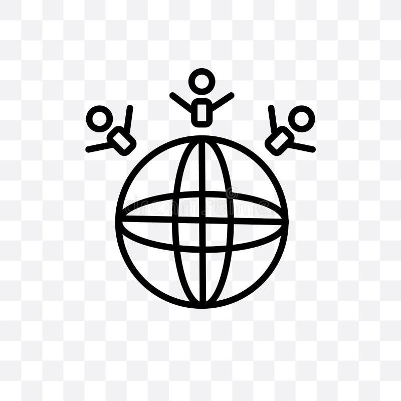 Sauvez l'icône linéaire de vecteur du monde d'isolement sur le fond transparent, sauvez le concept de transparent du monde peut ê illustration libre de droits