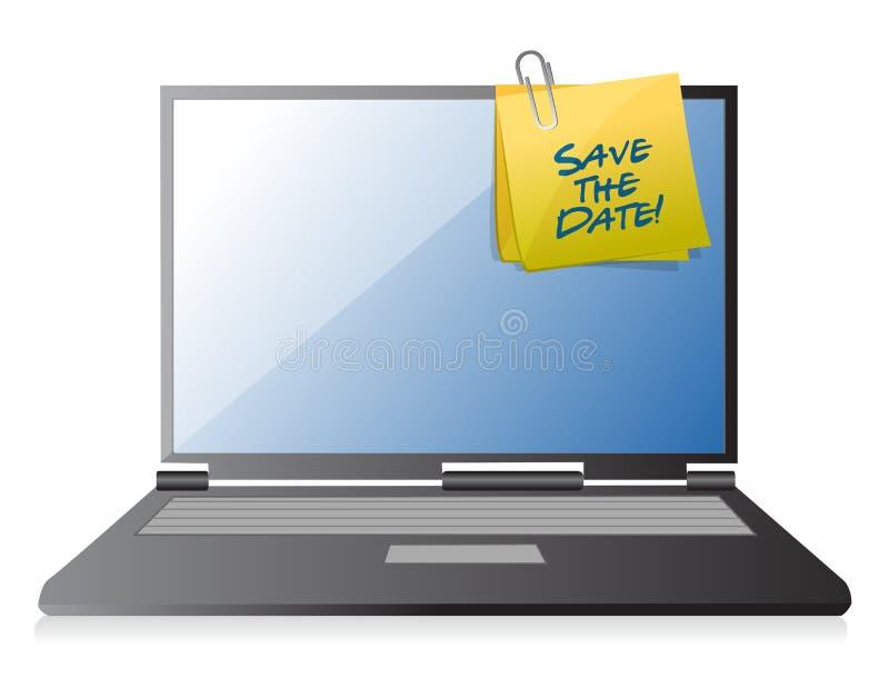 sauvez l'illustration de courrier de note d'ordinateur de date illustration libre de droits