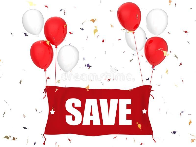 Sauvez la bannière avec le tissu rouge illustration libre de droits