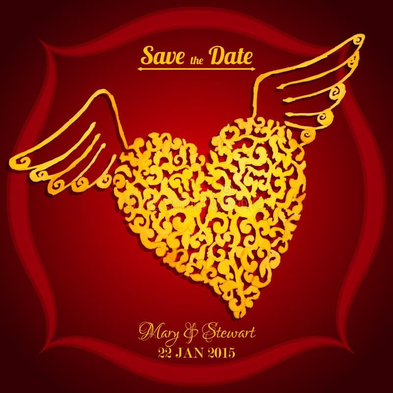 Sauvez la carte de date avec le coeur de vol d'aquarelle illustration stock