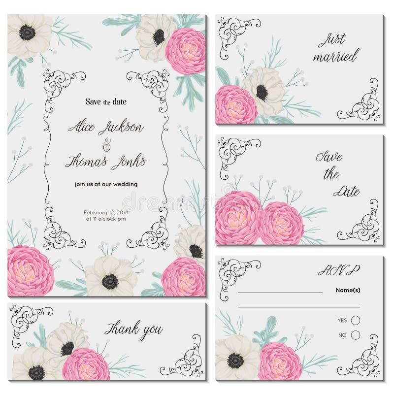 Sauvez la carte de date avec les camélias roses, les fleurs blanches d'anémone, le miller poussiéreux et le gypsophila Conception illustration de vecteur