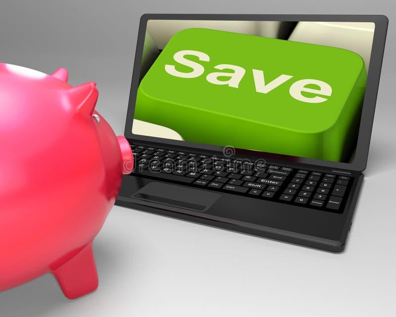 Sauvez la clé sur l'ordinateur portable révélant des baisses des prix photos libres de droits