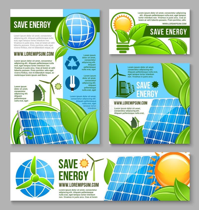Sauvez la conception de calibre de bannière d'affaires d'énergie illustration libre de droits