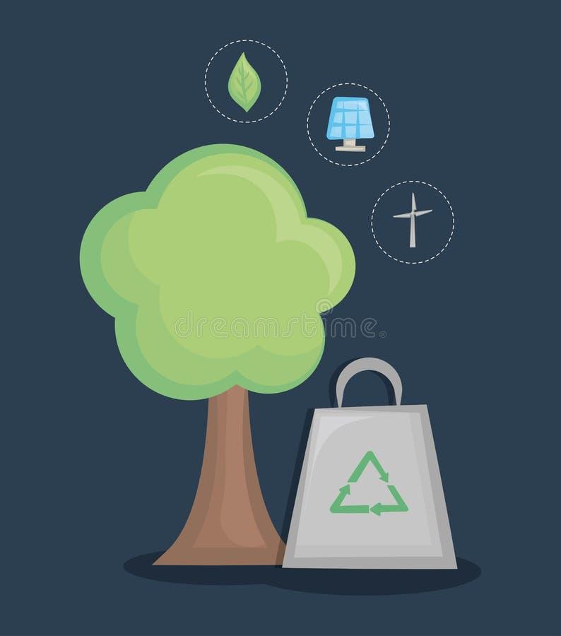 Sauvez la conception de l'avant-projet du monde et d'énergie propre illustration de vecteur