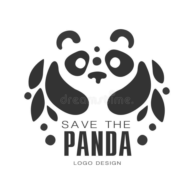 Sauvez la conception de logo de panda, protection des illustrations noires et blanches de vecteur de signe d'animal sauvage sur u illustration stock
