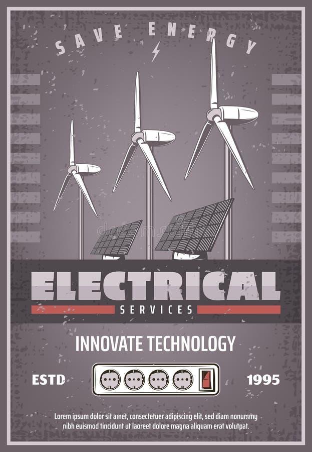 Sauvez la rétro bannière d'énergie de la technologie de puissance d'eco illustration de vecteur