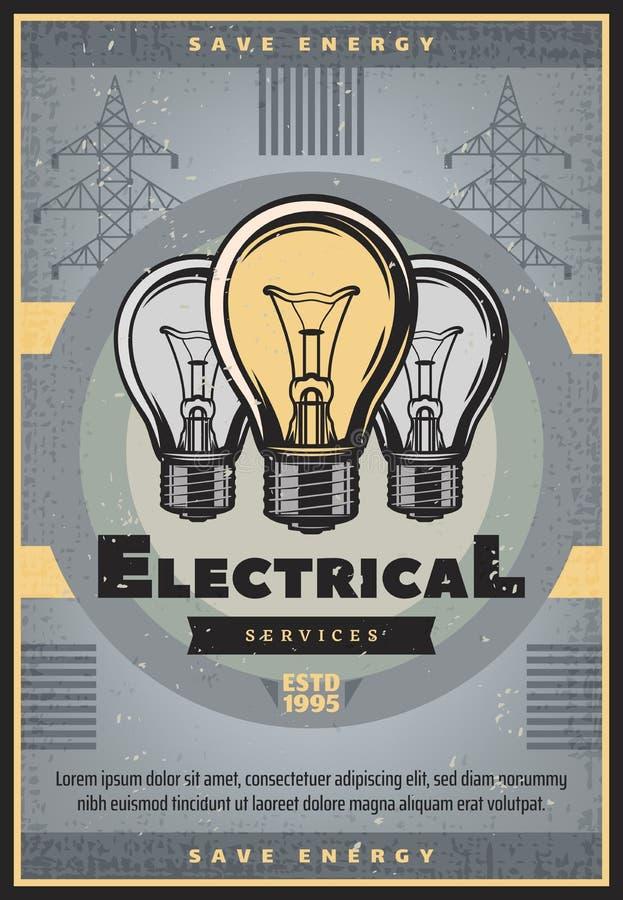 Sauvez la rétro bannière d'énergie du service électrique illustration stock