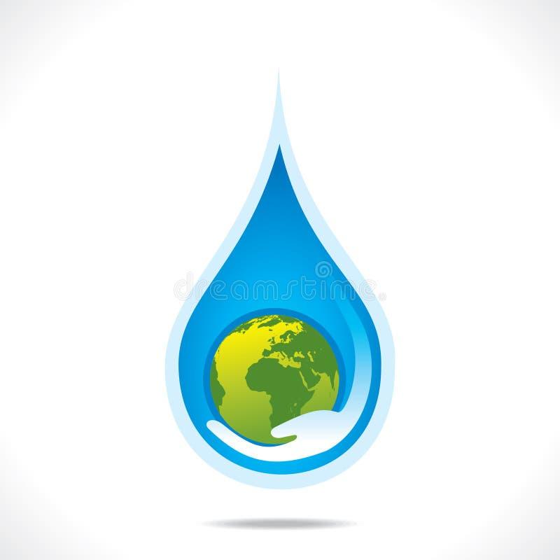 Sauvez la terre ou sauvez le concept disponible de l'eau illustration stock