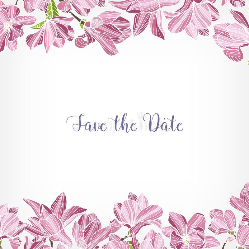 Sauvez le calibre de carte de date décoré de la frontière florale ou le cadre fait de fleurs de floraison de magnolia de rose pla illustration stock
