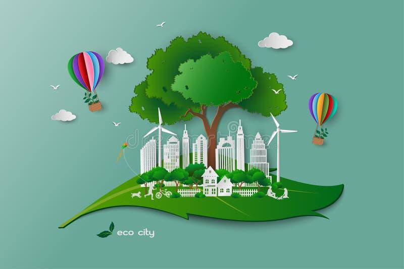 Sauvez le concept d'écologie de conservation d'environnement, famille heureuse et détendez avec la nature verte illustration de vecteur