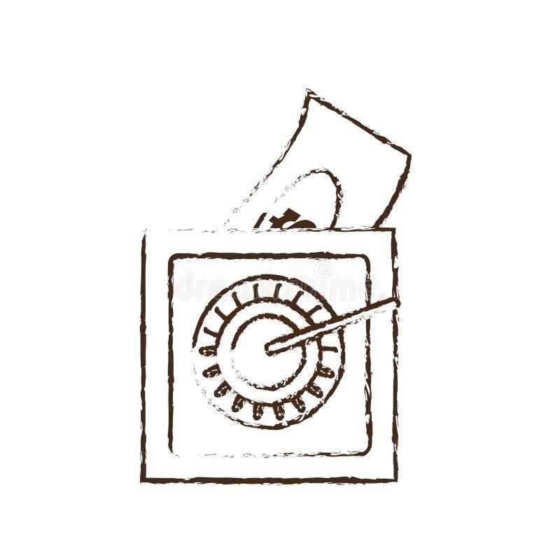 sauvez le croquis de factures d'argent liquide d'argent de boîte illustration stock