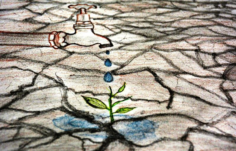 Sauvez le croquis de l'eau illustration libre de droits