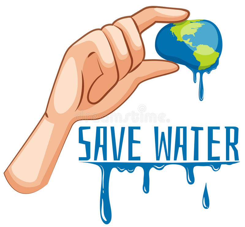 Sauvez le signe de l'eau avec la terre étant serrée illustration libre de droits