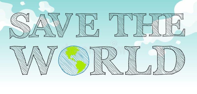 Sauvez le thème du monde avec le ciel et la terre illustration stock