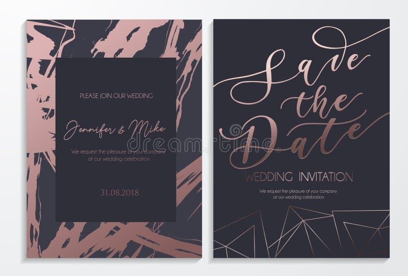 Sauvez les cartes d'invitation de mariage de date sur l'obscurité et le tex rose d'or illustration libre de droits