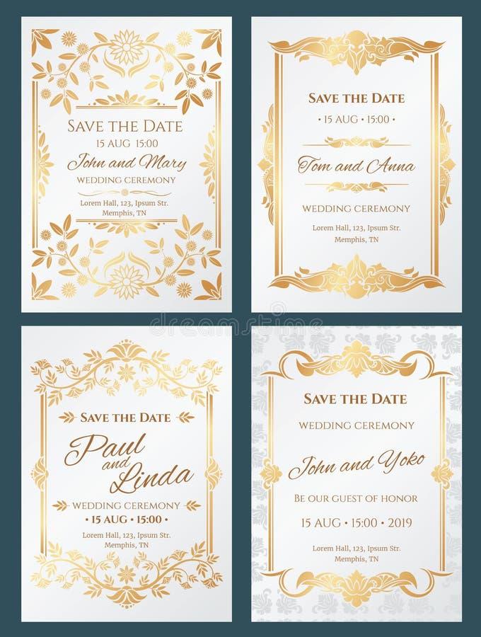 Sauvez les cartes de luxe d'invitation de mariage de vecteur de date avec le cadre élégant de frontière d'or illustration de vecteur
