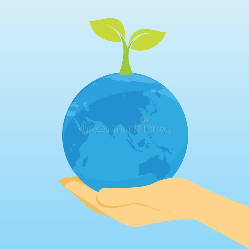 Sauvez nos arbres d'usine de la terre illustration stock