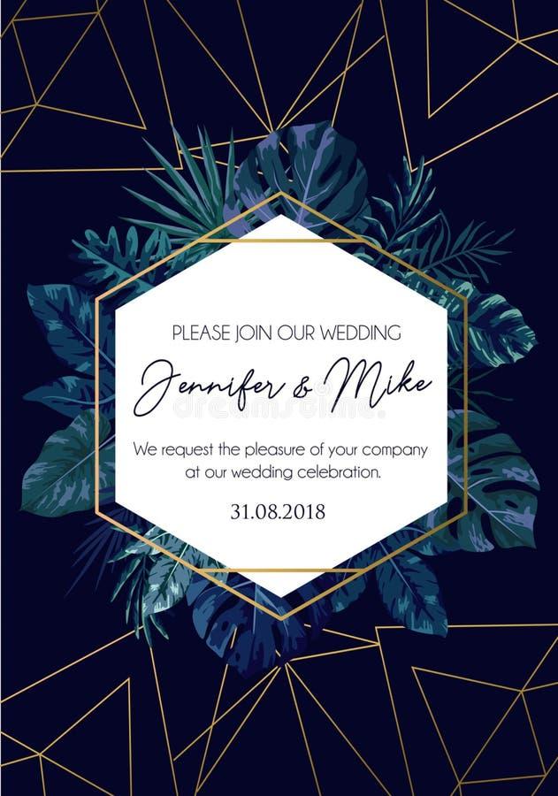 Sauvez notre conception d'invitation de mariage de date Calibre d'élégance pour e illustration de vecteur