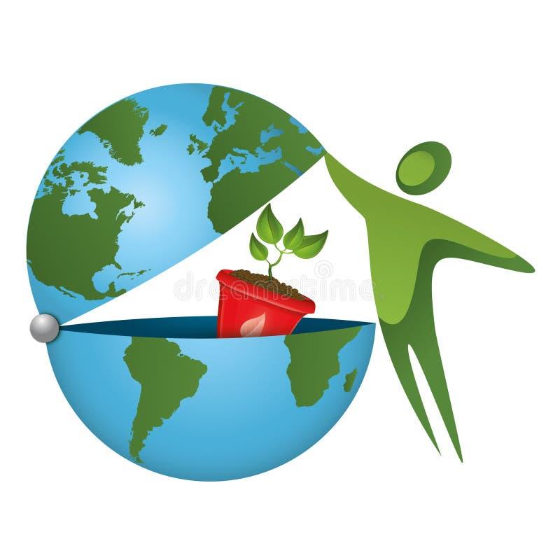 Sauvons la planète ! Un monde vert sur un concept écologique image stock