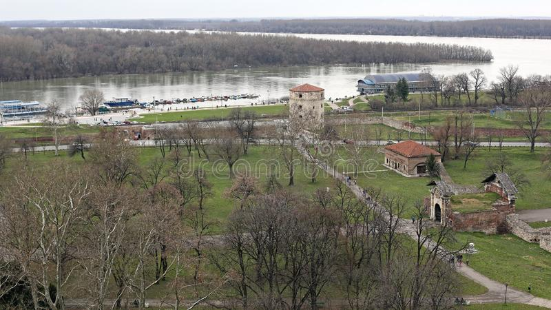 Sava and Danube Rivers stock photography