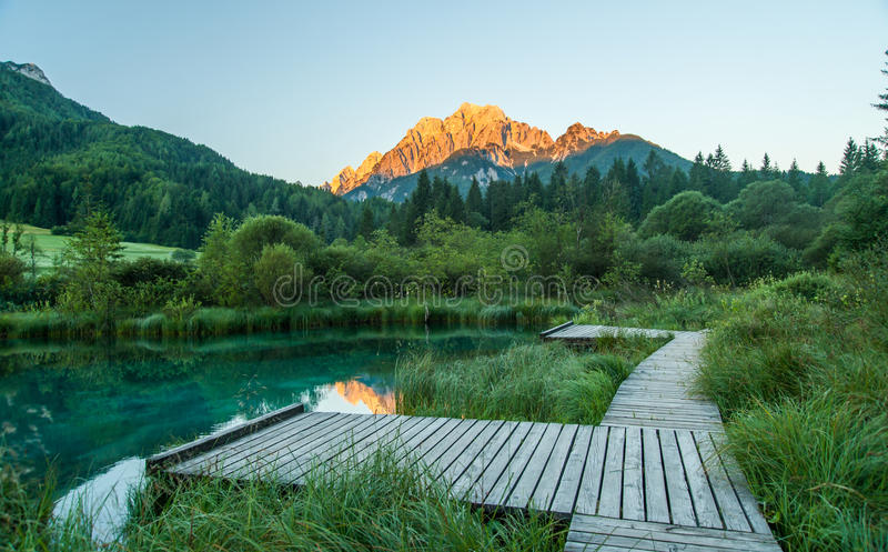 Sava spring, Zelenci, Slovenia. Sava spring in Zelenci near Kranjska gora town in Slovenia stock photos