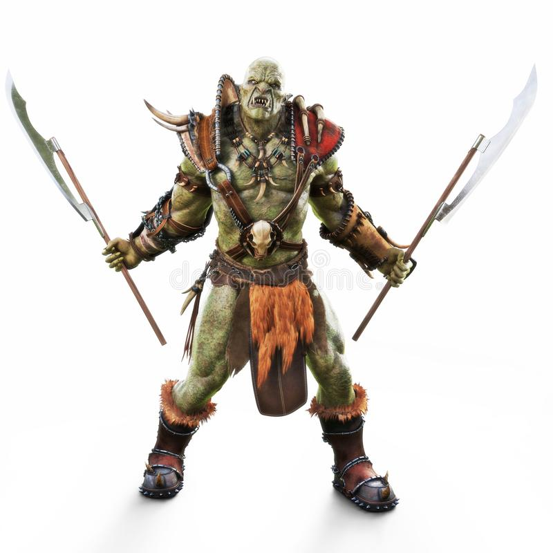 Savage Orc Brute warrior wearing traditional armor ready for battle. Fantasy themed character on an isolated white background. 3d Rendering royalty free illustration