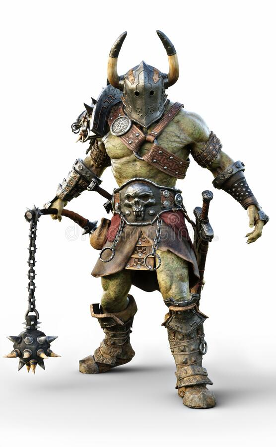 Free Savage Orc Brute Wearing Traditional Armor And Equipped With A Flail  . Fantasy Themed Character On An White Background. Stock Images - 189474954