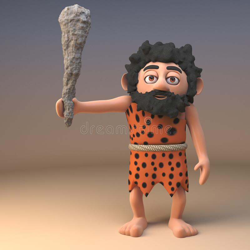 Savage stone age caveman in animal pelt waves his neolithic club in anger, 3d illustration. Render vector illustration