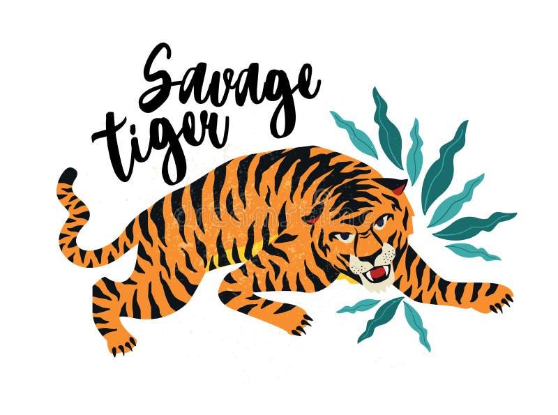 Savage Tiger Ejemplo del vector del tigre con las hojas tropicales Diseño de moda para la tarjeta, cartel, camiseta stock de ilustración