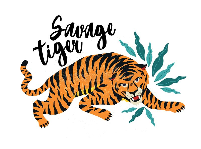 Savage Tiger. Vector illustration of tiger with tropical leaves. Trendy design for card, poster, tshirt. Savage Tiger. Vector illustration of tiger with stock illustration