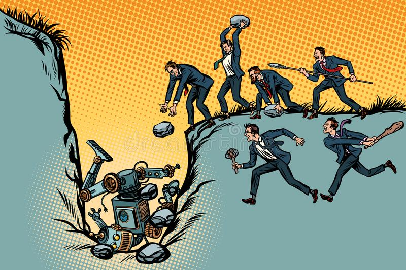 Savages businessmen kill the robot. Fight for jobs. People again stock illustration