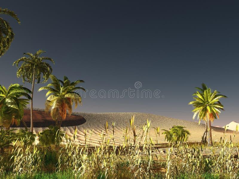 Savana africano com rendição abundante e vívida da vida vegetal 3d ilustração royalty free