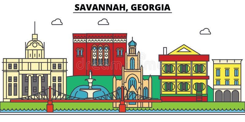 Savana, Geórgia Skyline da cidade, arquitetura, construções, ruas, silhueta, paisagem, panorama, marcos, ícones ilustração stock