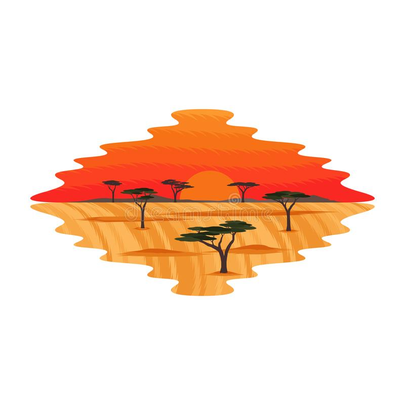 Savana Glassland Safari Landscape Sunset de África ilustração royalty free