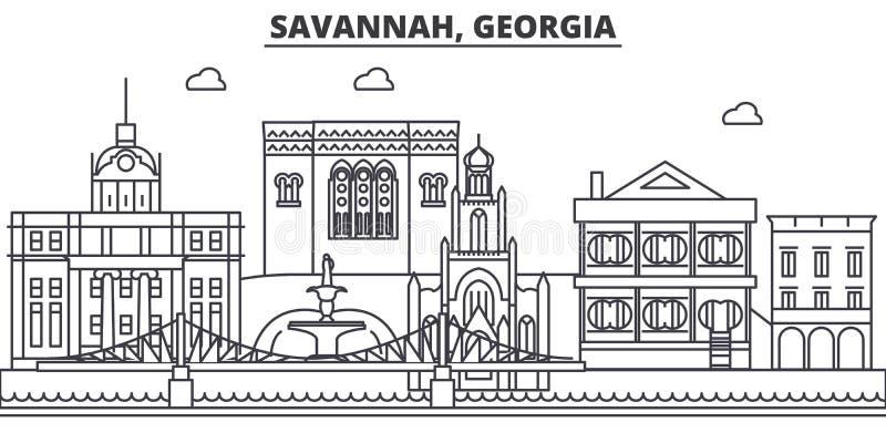 Savana, linea illustrazione di architettura di Georgia dell'orizzonte Paesaggio urbano lineare con i punti di riferimento famosi, illustrazione di stock