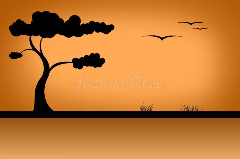 Savanna. Vector illustration,bird , silhouette, plant stock illustration