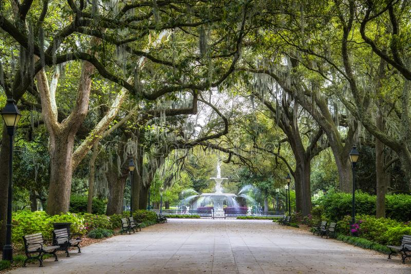 Savanna Georgia. Forsyth park in the historical district of savanna Georgia is a major tourist attraction royalty free stock images