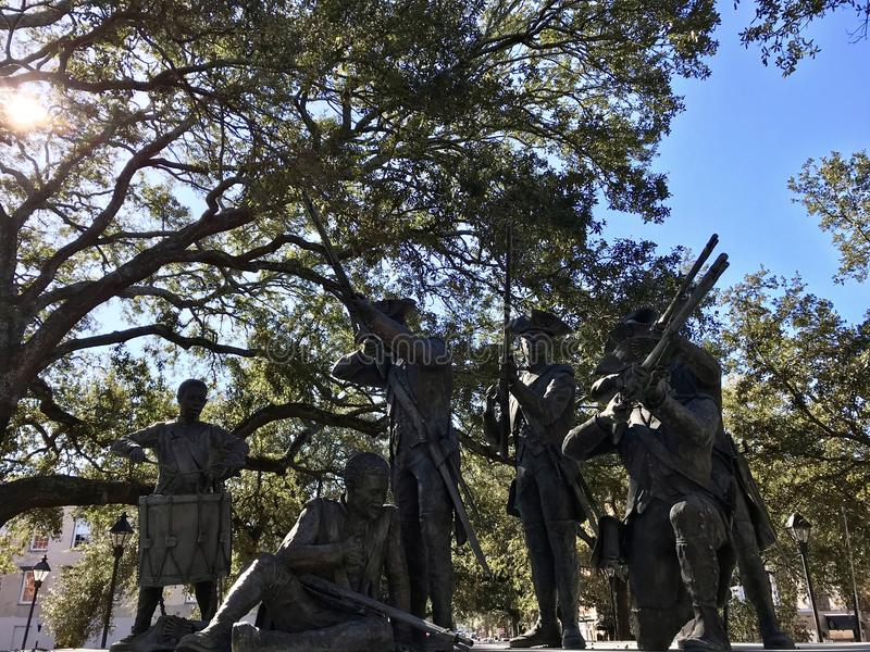 Haitian Monument to Revolutionary War Soldiers in Savannah, Georgia. Savannah's Haitian Monument commemorates the contribution of the Chasseurs royalty free stock photos