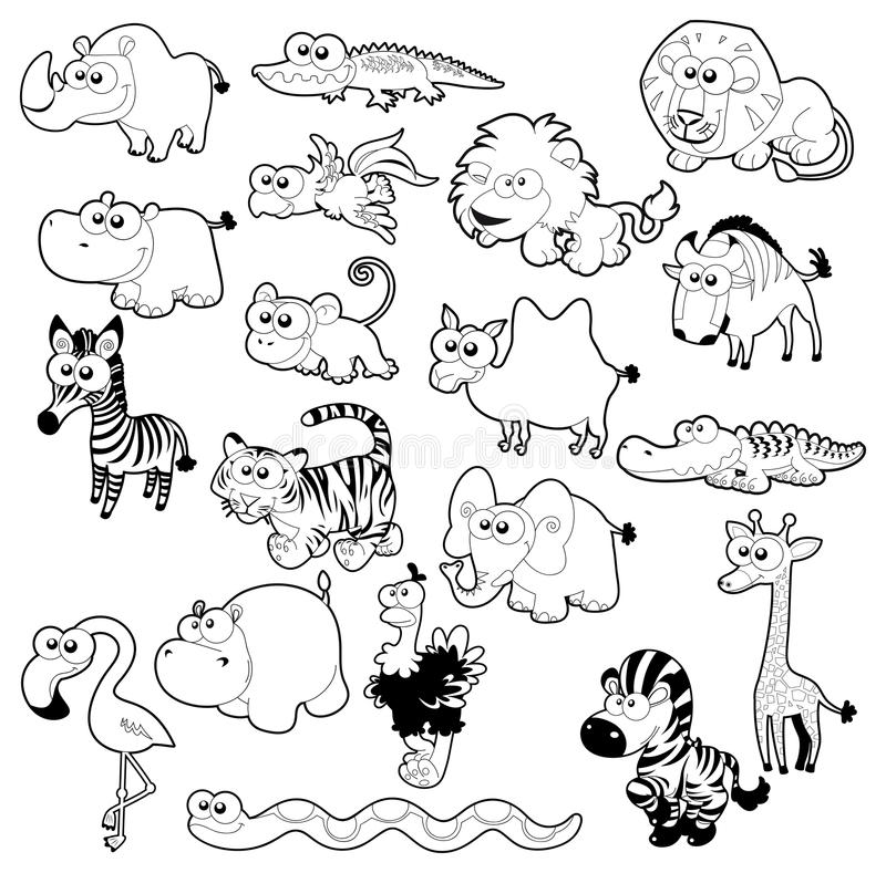 serval animal coloring pages. Download Savannah animal family  stock vector Illustration of rhinoceros 24685325