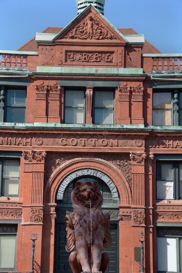 Savannah Cotton Exchange & Lion Fountain stock photos